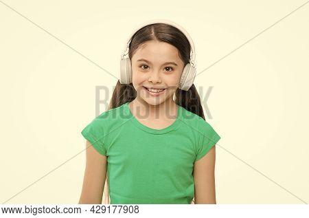 Privilege Of Premium Music Account. Little Girl Listen Music Modern Headphones. Small Kid Listen Mus