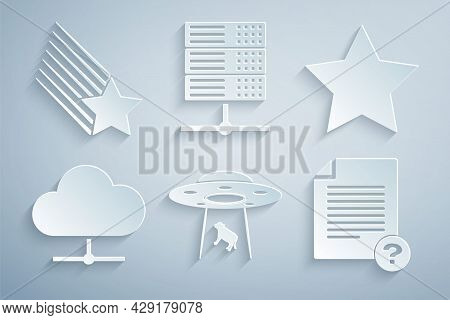 Set Ufo Abducts Cow, Star, Network Cloud Connection, Unknown Document, Server, Data, Web Hosting And