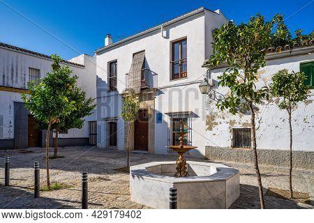 Jerez De La Frontera, Spain - Nov 15, 2019: Plaza Del Mirabal, Little Square In Jerez De La Frontera