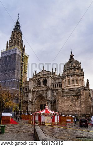 Toledo, Spain - Dec 01, 2019: The Primate Cathedral Of Saint Mary Of Toledo, Catedral Primada Santa