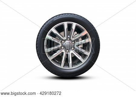 Clipping Path. Silver Wheel Super Car Isolated On White Background View. Magneto Wheels. Movement. M