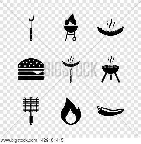 Set Barbecue Fork, Grill, Sausage, Steel Grid, Fire Flame, Hot Chili Pepper Pod, Burger And On The I
