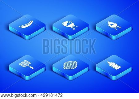 Set Mustard Bottle, Hot Chili Pepper Pod, Barbecue Grill, Steel Grid, And Icon. Vector