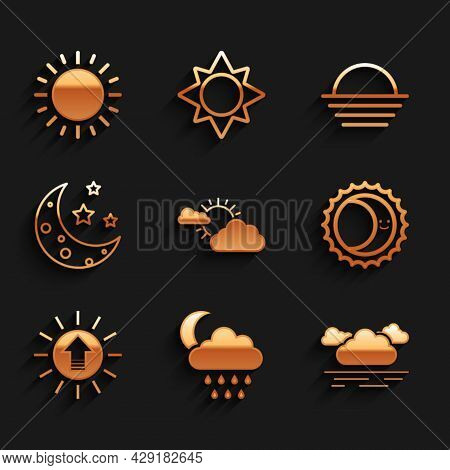 Set Sun And Cloud Weather, Cloud With Rain Moon, Eclipse Of Sun, Sunset, Moon Stars, And Icon. Vecto