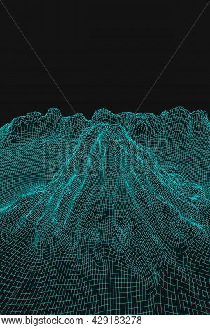 Blue Abstract Vector Wireframe Landscape Background. 3d Futuristic Mesh Mountains. 80s Retro Illustr