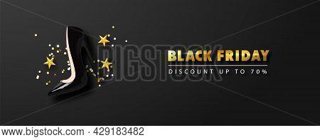 Black Friday Sale Banner With Black High-heeled Shoe, Golden Serpentine And Stars. Modern 3d Design.