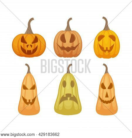 A Bright Festive Set With The Image Of Emotional Pumpkins Of Various Shapes And Colors, Symbolizing