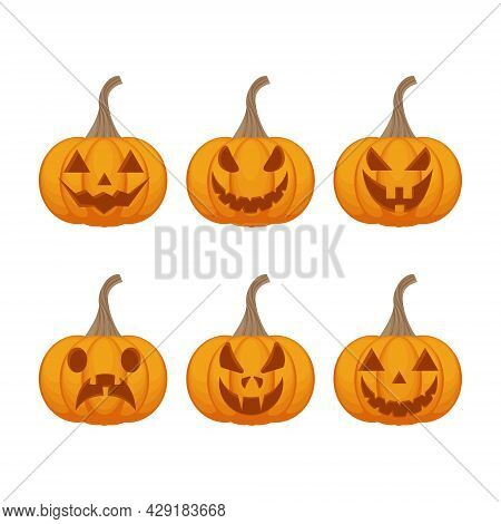 Festive Set With The Image Of Jack-o-lanterns Pumpkins. Pumpkins Are The Symbol Of The Halloween Hol
