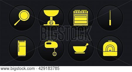 Set Refrigerator, Knife Sharpener, Electric Mixer, Mortar And Pestle, Oven, Electronic Scales, And F