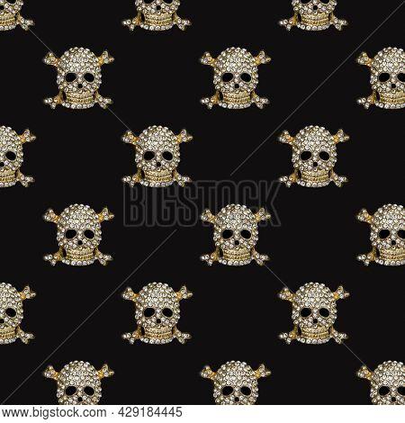 Seamless Halloween Pattern. Golden Skull With Rhinestones On Black Background. Happy Hallowen Holida