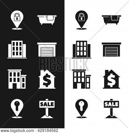 Set Garage, House, Location Lock, Bathtub, With Dollar Symbol, Hanging Sign Sale And Key Icon. Vecto