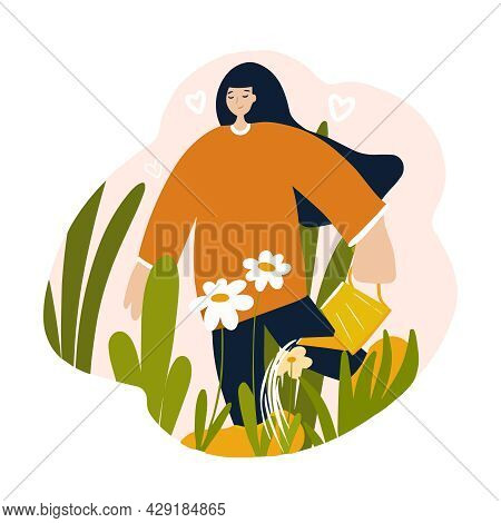 Woman Watering Plants In The Garden, The Concept Of Love For Nature, Taking Care Of The Planet Earth