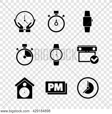 Set Clock, Stopwatch, Smartwatch, Retro Wall, Pm, And Wrist Icon. Vector