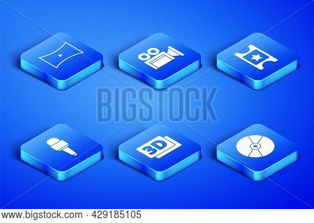 Set Cd Or Dvd Disk, Online Play Video, 3d Word, Microphone, Cinema Camera And Ticket Icon. Vector
