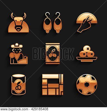 Set Olives In Can, House Edificio Mirador, Football Ball, On Plate, Bullfight, Matador, Fan Flamenco