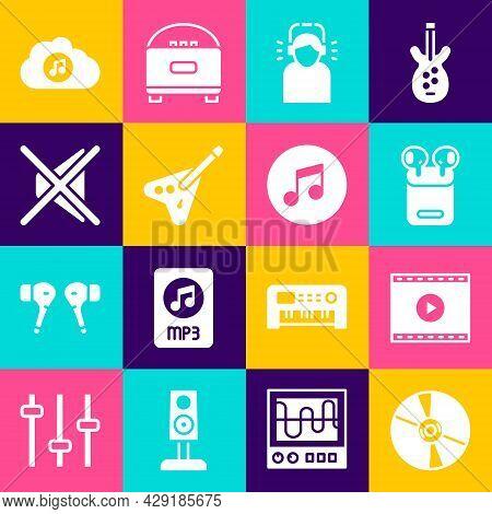 Set Cd Or Dvd Disk, Online Play Video, Air Headphones Box, Man, Electric Bass Guitar, Speaker Mute,