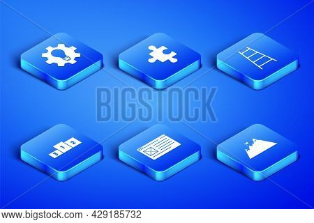 Set Mountains With Flag, Light Bulb And Gear, Browser Window, Business Podium, Piece Of Puzzle And S