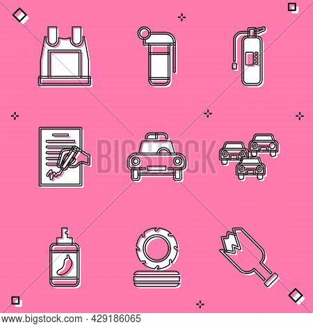 Set Bulletproof Vest, Hand Grenade, Fire Extinguisher, Petition, Police Car Flasher, Traffic Jam, Pe
