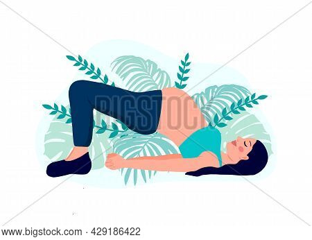 Yoga Pregnant Women Concept. Relax, Meditation For The Expectant Mother. Vector Illustration