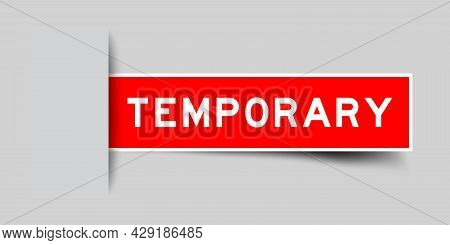 Label Sticker Red Color In Word Temporary That Inserted In Gray Background