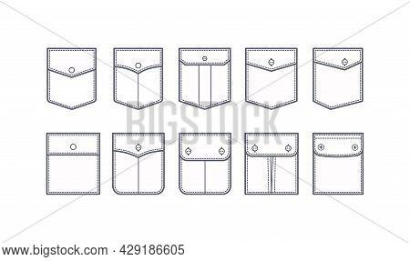 Patch Pocket Set Of Uniform Patch Pockets Shapes For Clothes, Dress, Shirt, Casual Denim Style. Vect