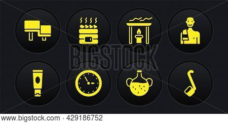 Set Cream Or Lotion Cosmetic Tube, Man In The Sauna, Sauna Clock, Essential Oil Bottle, Aroma Candle