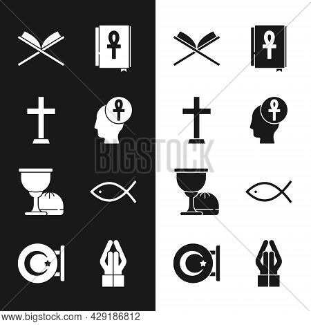 Set Cross Ankh, Christian Cross, Holy Book Of Koran, Grail Chalice, Fish, Hands In Praying Position