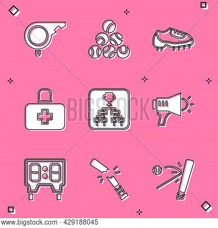 Set Whistle, Baseball Ball, Boot, First Aid Kit, Championship Tournament Bracket, Megaphone, Mechani