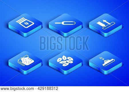 Set Seed, Bag Of Coffee Beans, Measuring Cup, Scoop Flour And Wheat Icon. Vector