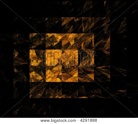 Computer generated fractal luxury golden tile background poster