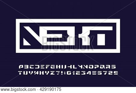 Next Alphabet Font. Bold Letters And Numbers For Your Logo Or Emblem. Stock Vector Typescript For Ty