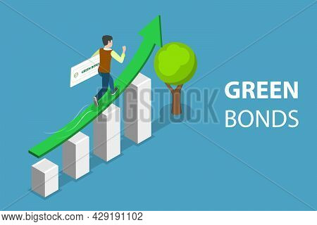 3d Isometric Flat Vector Conceptual Illustration Of Investing Into Green Bonds, Financial Investment