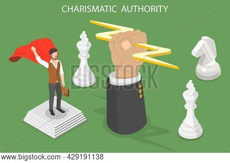 3d Isometric Flat Vector Conceptual Illustration Of Charismatic Authority, Strong Leadership Skills