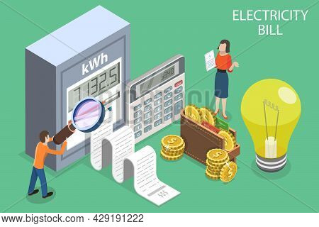 3d Isometric Flat Vector Conceptual Illustration Of Electricity Bill, Utility Invoice Payment