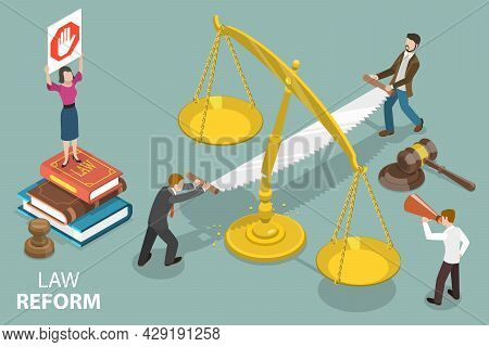 3d Isometric Flat Vector Conceptual Illustration Of Law Reform, Constitution Alteration