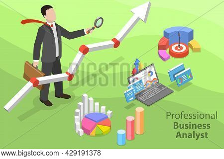 3d Isometric Flat Vector Conceptual Illustration Of Professional Business Analyst, Auditing And Fina