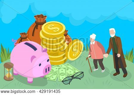 3d Isometric Flat Vector Conceptual Illustration Of 401k Retirement Plan, Pension Savings And Planni