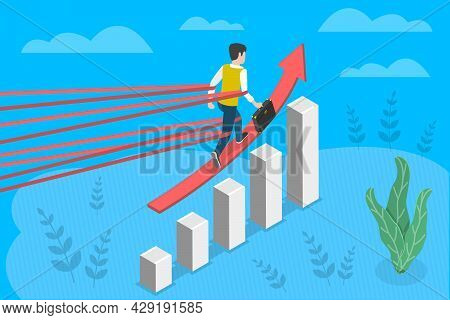 3d Isometric Flat Vector Conceptual Illustration Of Business Obstacles, Career Restrictions And Limi