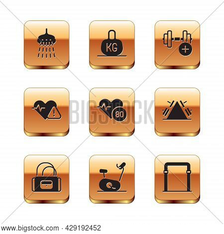 Set Shower, Sport Bag, Stationary Bicycle, Heart Rate, Dumbbell, Horizontal Bar And Weight Icon. Vec