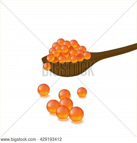 Red Caviar In Spoon On A White Background. Gourmet Food Close Up, Appetizer. Vector Illustration Iso