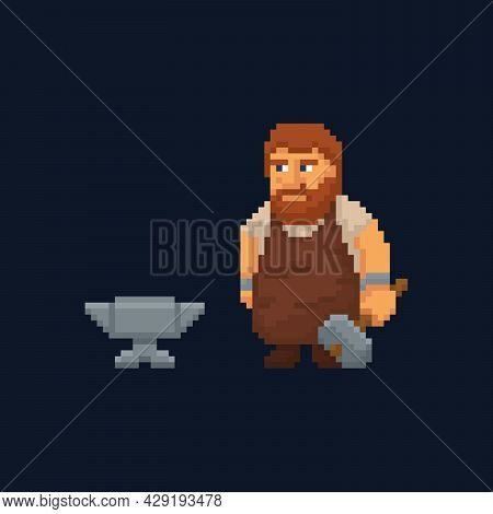 Pixel Art Character - Blacksmith With Hammer And Anvil