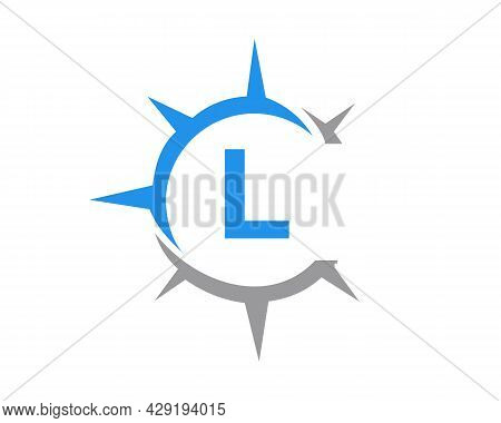 Compass Logo Design With L Letter Concept. Compass Concept With L Letter Typography