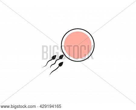 Oocyte Fertilization, Sperm Icon. Vector Illustration. Flat Design.