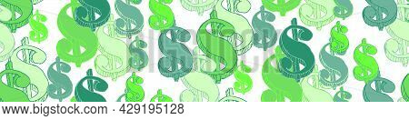 Seamless Pattern Of The Symbols Of Dollar Currency On White Background. Green Vector Background With