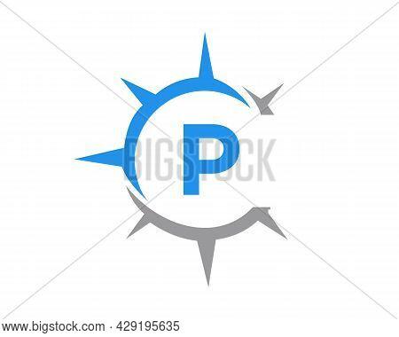 Compass Logo Design With P Letter Concept. Compass Concept With P Letter Typography