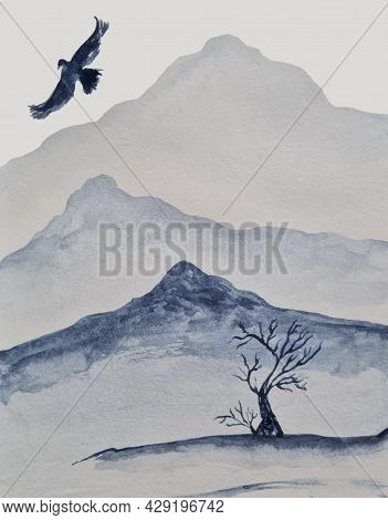 Mountains And A Soaring,fluttering, Flying Eagle Above Them,a Sketch Of A Growing Tree In The Vicini