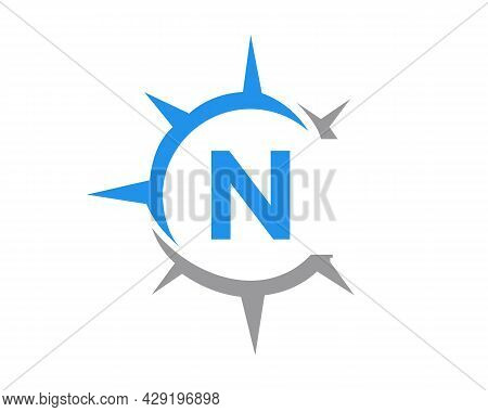 Compass Logo Design With N Letter Concept. Compass Concept With N Letter Typography