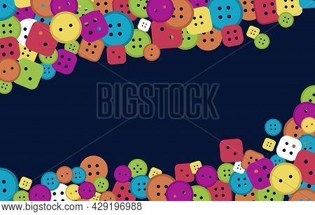 Sewing Buttons Background, Bright Colors Different Shapes. Vector
