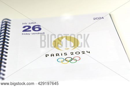 Paris, France, August 2021: An Open Agenda On The Page Of July 26, 2024, Opening Day Of The Paris 20