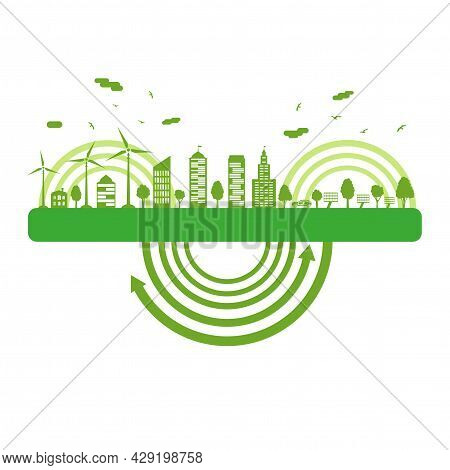 Ecological City And Environment Conservation. Concept Green City With Renewable Energy Sources. Vect